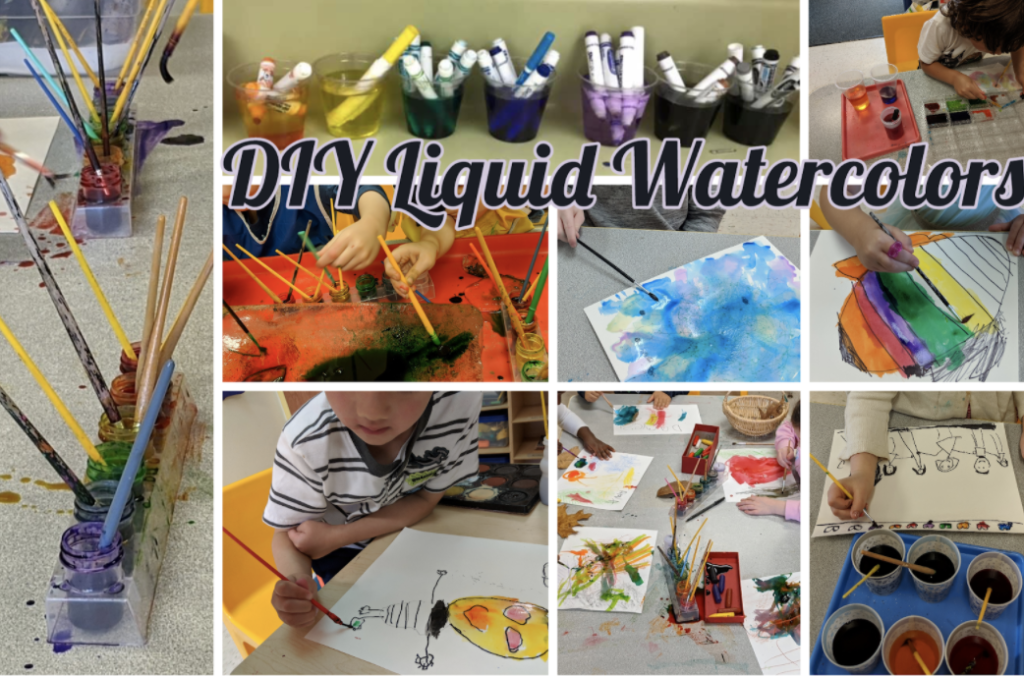 A collage of students making their own watercolor.