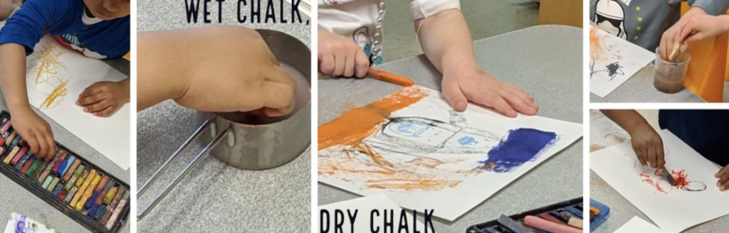 Students creating chalk art.