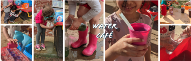 A photo of children holding a water cafe.