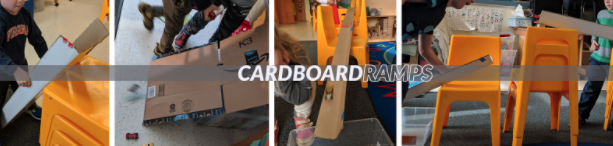 Kids building their own cardboard ramps.